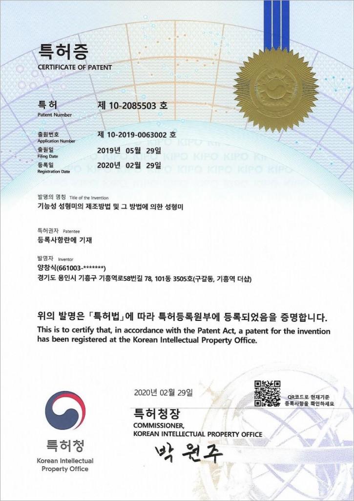 성형미특허증20200229_Image